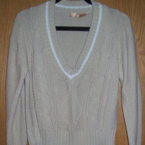 Beige Cable Sweater - V-Neck - Large (14-16)